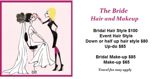 new bride hair and ma up prices